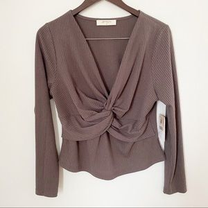 NWT Altar'd State Charcoal Front twist Blouse